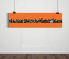 Poster Panorâmico World Skyline Graperfruit / Artista Sergio Piancó