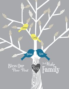 Personalized Family Tree - Bless Our Nest -  Custom Family Tree - Family Tree Art Print - 11x14. $40.00, via Etsy.
