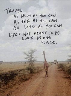 Life's not meant to be lived in one place.  #TheTravelingJean #quotes #travel