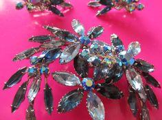 Beau Jewels Floral Spray Blue Rhinestone Brooch by Lavendergems, $30.00
