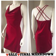 DAVIDA red plush velour Marilyn mini dress M-L ❤️SALE❤️⬇️FINAL MARKDOWNSoft and stretchy unlined dress. Shows some light wear but no stains! The bottom hem is loose but still mostly connected please see the last photo. Criss cross back straps and cowl neck. It can fit M-L nicely! It is a fitted style so it will hug the body. Gorgeous red color! Perfect for those holiday parties coming around the corner! Pit to pit across front 15 1/2 inches. Shoulder to bottom 33 1/2 inches. Hips across…