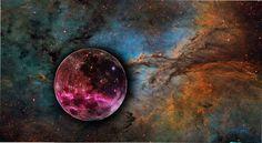 galaxy moon space stars universe