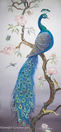 Blue Peacock from mural by Jennifer Carasco Peacock Painting, Peacock Art, Peacock Drawing, White Peacock, Peacock Colors, Chinoiserie, Bird Art, Chinese Art, Beautiful Birds
