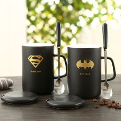 Superhero superman spider man batman hulk captain america iron man thor ceramic mug cup pottery coffee milk handgrip lid spoon Cute Coffee Mugs, Ceramic Coffee Cups, Coffee Milk, Milk Cup, Cool Mugs, Creative Coffee, Cute Cups, Personalized Cups, Accessories