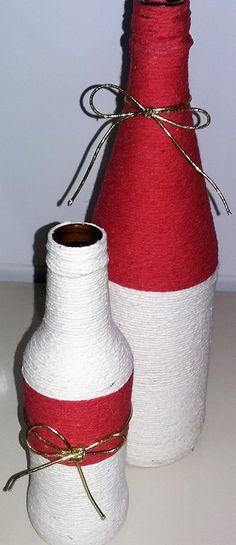 Garrafas feitas com barbantes e você monta o Kit com 2, 3 ou 4 garrafas!
