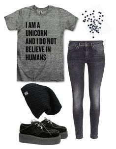 """I Am A Unicorn and I Do Not Believe in Humans!"" by singeractress127 ❤ liked on Polyvore featuring H&M, women's clothing, women, female, woman, misses and juniors"