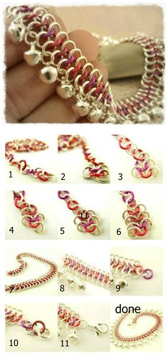 Use jumprings and bells to make chainmaille anklet