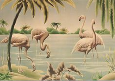 Vintage Turner Flamingos Greeting Card 1975