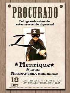 Convite Digital - Tema Zorro    O convite é enviado por e-mail em alta resolução.  Você poderá imprimi-lo a quantidade que desejar!  Após efetuar o pedido enviei os dados para a alteração d texto. Será um prazer lhe atender.  .  *Fique à vontade para tirar todas as suas dúvidas.    Atenciosamente...