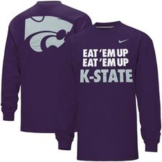 Nike Kansas State Wildcats Eat 'Em Up K-State Long Sleeve T-Shirt - Purple. SMALL