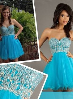 Chic Blue Sweetheart Beading Short Mini Homecoming Dresses HCS0012 | BGCP