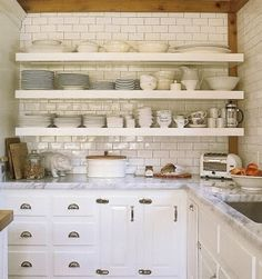 Kitchen subway tile, dark grout backsplash with wood border and shelves