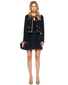 Chain-Trim Jacket & Ostrich-Feather Skirt by MICHAEL Michael Kors at Neiman Marcus.