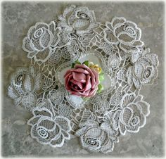"""ROSES JUBILEE  10"""" Lace Doily   Doilies  Rose Flower Floral"""