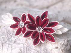 Red and white dahlia silk kanzashi headband by GirLinKimono