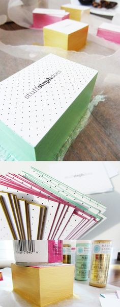DIY Edge Painted Business Cards - when clamping and spray painted didn't work due to paint bleeding, blogger Steph Hayward found that stacking the cards, placing a heavy object on them and painting with acrylic paints and a foam brush eliminated the dreaded edge bleeding.