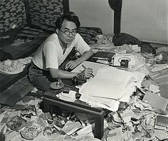 "A picture taken by Tadahiko Hayashi (林忠彦) of author/essayist Ango Sakaguchi (坂口安吾) in his study during the post-WWII era. Sakaguchi is, perhaps, most well known for his essay ""A Discourse on Decadence"" (堕落論), Writers Desk, Japanese Literature, Japanese History, Japanese Lifestyle, Uk History, Essayist, Stray Dogs Anime, Dazai Osamu, Japan Photo"