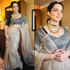 Kangana Ranaut in exclusive Raw Mango Saree with authentic jewellery for Promotions. Bollywood Saree, Bollywood Fashion, Indian Attire, Indian Wear, Indian Dresses, Indian Outfits, Raw Mango Sarees, Organza Saree, Silk Sarees