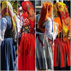 Different costumes from Viana. Left to right: Mordoma, Traje Lavradeira, Traje do Campo, Traje Lavradeira