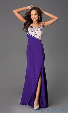Sleeveless Scoop Neck Floor Length Dress at SimplyDresses.com
