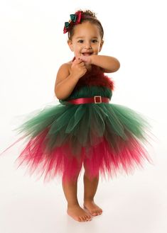 Tutu Dress - Holiday or Christmas Outfit - Green & Burgundy - Enchanted Elf - 3-4 Toddler Girl