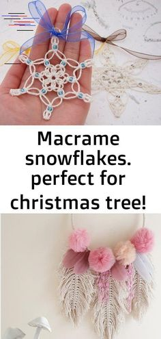Perfect for Christmas tree! Available on etsy (link in my bio) Macrame Bag, Pastels, Mushrooms, Babyshower, Feathers, Snowflakes, Crochet Earrings, Christmas Tree, Community