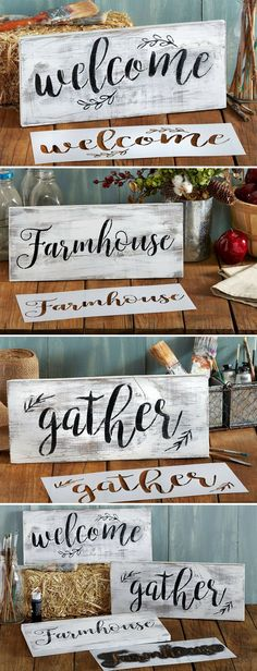 Gather, Welcome, Farmhouse Stencil Set | Large Beautiful Calligraphy Stencils for Painting on Wood | DIY Rustic Decor, Wedding Signs, Kitchen & Porch Stenciled Word Signs #welcome #gather #welcomesign #grateful #thankful #farmhouse #farmhousestyle #signs #rustic #homedecor #diy #stencils #diysigns #giftideas #affiliate