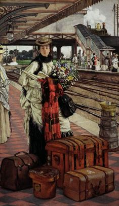 James Tissot (French 1836–1902): Waiting at the Station , Willesden Junction (circa 1874)