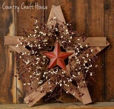 Make the wooden star with yardsticks and paint. Wrap with lights for outside decoration.