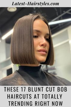 This is it ladies! The cutest blunt cut bob haircuts are right here. Click here to see them before your next haircut! (Photo credit IG @sergeyshapochka) Latest Hairstyles, Bob Hairstyles, Straight Hairstyles, Pixie, Straight Bob Haircut, Blunt Bob Haircuts, Chin Length Hair, Blunt Cuts, Hair And Beauty Salon