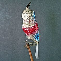 Red Blue Clip Owl Christmas Ornament Spun Glass Tail Antique Christmas Ornaments, Christmas Owls, Architectural Antiques, Vintage Holiday, White Paints, Vintage Sewing, Red And Blue, Primitive, Holidays