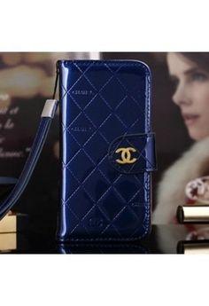 Coque Chanel iPhone 6 Plus,portefeuille Cuir iPhone 6 5.5 pouce-bleu