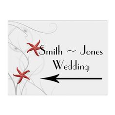 Red Starfish Silver Coral Wedding Direction Sign