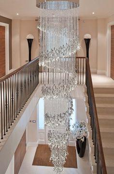 Chandelier Spiral Light Grey Glass Leaves in 2020 Foyer Chandelier, Luxury Chandelier, Chandelier Lighting, Iron Chandeliers, Luxury Interior, Modern Interior, Interior Lighting, Modern Luxury, Interior Design