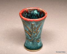 Custom order shot glass in teal and red from Hurricane Pottery (for a custom order, contact me at HurricanePottery@gmail.com)