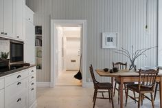 Style and Create — Love every inch of this Gothenburg apartment! Now... Gothenburg, Scandinavian Design, Scandinavian Interiors, Dining Area, Dining Room, Kitchen Dining, House By The Sea, White Wood, Decoration