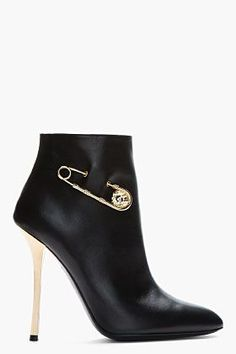 Versus Black Leather Gold-trimmed Army Boots for women Ankle Boots, Heeled Boots, Bootie Boots, Hot Shoes, Women's Shoes, Me Too Shoes, Jimmy Choo, Stilettos, High Heels