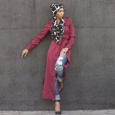 modest cardigan with belt in burgundy