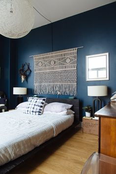 "Nice wall color. - Macrame ""headboard"" feature. Chris & Jenny's Collective Elegance — House Tour 