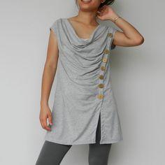 High Fashion EMO - Steampunk Top....NEW Design Light Grey Organic Cotton Jersey knit. $28.00, via Etsy.