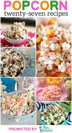 27 Easy Popcorn Recipes and Printable Boxes - movie night Snack - Popcorn Snacks, Candy Popcorn, Popcorn Balls, Gourmet Popcorn, Pop Popcorn, Marshmallow Popcorn, Homemade Popcorn, Flavored Popcorn, Marshmallows