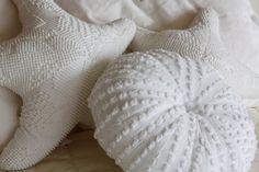 Chenille Sea Urchin and Star Fish pillows