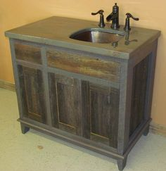Weathered Gray Antique Vanity      * This is our Antique Bathroom Vanity style made from Weathered Gray       Barnwood     * The price starts at 24 inches wide x 21 inches wide x 34 inches high       without a top.     * Any size vanity is available. Request your quote here.   FREE SHIPPING   This vanity is available in any size, and can be custom made to your  specifications.  Please contact us at info@viennawoodwork.com to get a quote.  SHIPS FREE TO MOST LOCATIONS WITHIN THE CONTINENTAL…