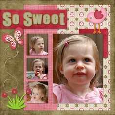 """Pink """"So Sweet"""" Little Girl's Scrapping Layout..."""