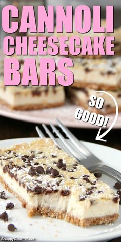 Cannoli Cheesecake Bars recipe - easy Italian inspired dessert that is great for parties! Cut into mini bites or large slices! Cannoli Cheesecake Bars recipe - easy Italian inspired dessert that is great for parties! Cut into mini bites or large slices! Dessert Cannoli, Bon Dessert, Easy Dessert Bars, Fun Baking Recipes, Sweet Recipes, Cookie Recipes, Easter Recipes, Easter Food, Easter Snacks