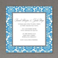 Elegant rococo pattern frames this square invitation template. Prints two invitations per sheet. Change the colors of the design and add your own wording. Dress up your invitation with a colored envelope that matches the color you pick for the pattern.
