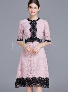 Shop for high quality Fashion Hit Color Lace Elegant Skater Dress online at cheap prices and discover fashion at Ezpopsy.com