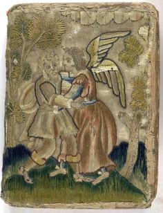 17th century embroidered satin book with pictorial angel and trees