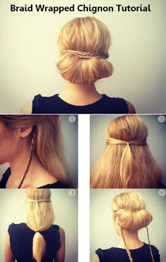 Braid wrapped chignon tutorial.