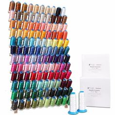 MACHINE-EMBROIDERY-STARTER-SET-120-POLYESTER-COLORS-THREAD-BOBBIN-STABILIZER